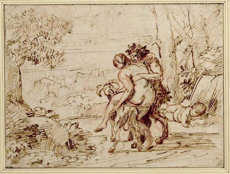 Никола Пуссен. Нимфа, седлающая козла, с сатиром и спящим амуром. Около 1626-1627