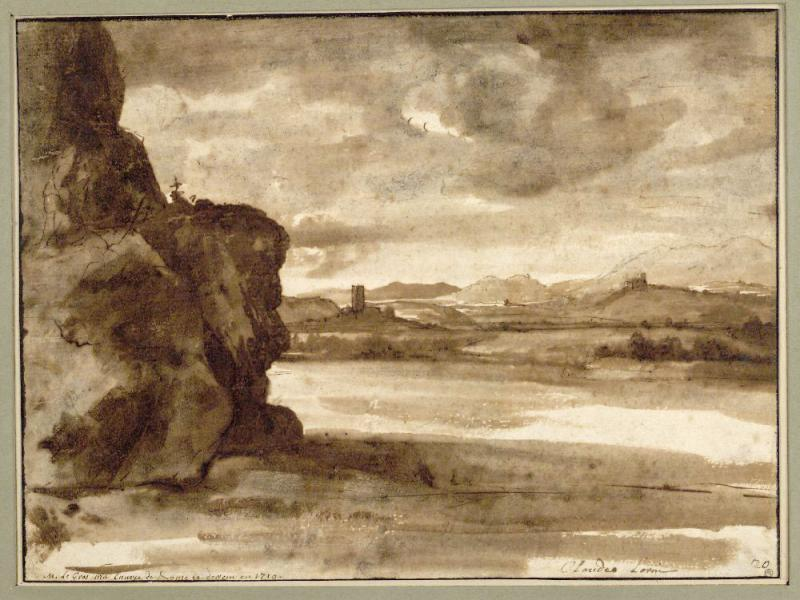 Клод Лоррен. Вид на Тибр к северу от Рима при облачной погоде. Между 1630 и 1640