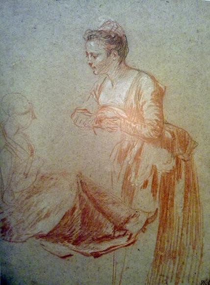 Жан-Антуан Ватто. Этюды стоящей и сидящей женских фигур. Около 1715-1717