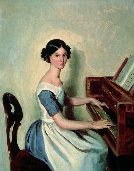Федотов П.А. Портрет Надежды Жданович за фортепиато. 1849. Русский музей